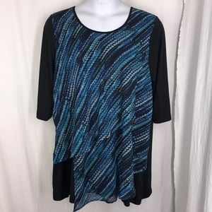Catherine's 1x Tiered 3/4 Slv Top Tunic Chiffon